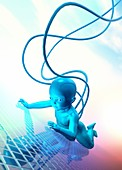 Baby with cables, illustration