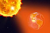 Solar flare hitting Earth, illustration