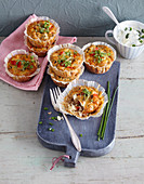 Vegetarian pepper muffins with sheep's cheese