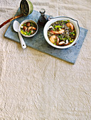 Oriental buckwheat noodle soup with prawns