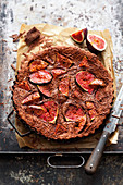 Grilled chocolate and fig tart