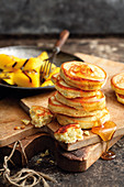 Grilled sweet herb pancakes with mango