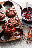 Grilled red berry compote muffins