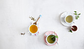 Orange tea, sage and lemon tea and mint and lemongrass tea