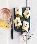 Vegetable wraps with alpine cheese and bean cream