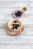 Almond milk rice pudding with fresh blackberries