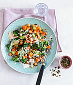 Broccoli salad with sweet potatoes, chickpeas and avocado