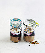 Overnight amaranth with quark and blueberries in preserving jars