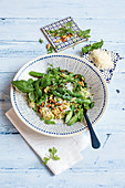 Green asparagus risotto with pine nuts