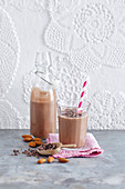 Vegan coconut smoothie with avocado and cocoa nibs