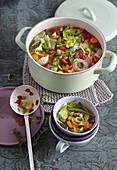 Vegan minestrone with curry and lemongrass