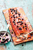 Grilled sweet chilli salmon with a blueberry glaze