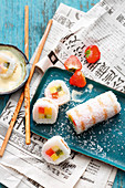 Grilled sweet sushi with coconut and Tahiti vanilla sauce