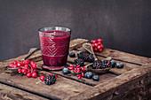 Redcurrants, pomegranate, blueberries, blackberries and raspberries