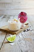 Frozen cherry yoghurt, and banana and coconut ice cream