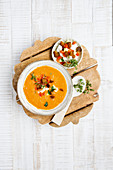 Chilled pepper gazpacho with feta cheese