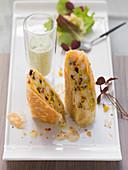 Polenta strudel with herb pesto yoghurt
