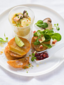 Turnip escalopes with potato and porcini mushroom salad