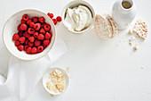Mandelblättchen, Himbeeren, Quark und Reiswaffeln