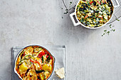 Potato bake with vegetables, and millet bake with chard