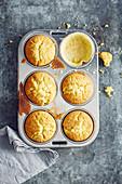 Lemon muffins with crème fraîche