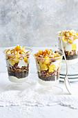 Crispy chia muesli with pineapple, dates and soya yoghurt