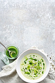 Cream of leek soup with parsley oil