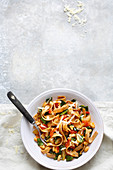 Vegetarian chard pasta with tomatoes