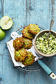 Vegetarian courgette fritters with and apple and herb tartare salad