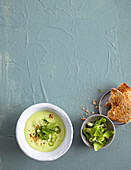 Cold avocado soup with cucumber and mint