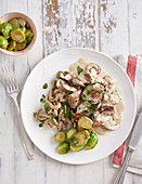 Veal cream goulash with spelt spaetzle and brussels sprouts