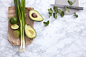 Green and healthy: avocado, lime, leek and mint
