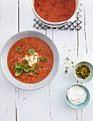 Tomato soup with pistachios