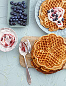 Spelt waffles with blueberry yoghurt