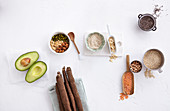 Low carb foods: avocado, nuts, salsify, tiger nuts, chia seeds, quinoa, oatmeal and red lentils