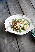 Goat's cheese on wild asparagus