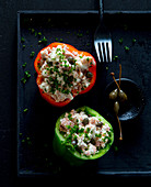 Stuffed peppers with tuna fish and cottage cheese