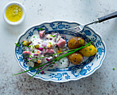 Soused herring salad with potatoes