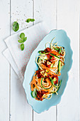 Vegetable wholegrain spaghetti with tomato sugo