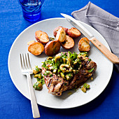 Lamb Blade Chops with Olive Parsley Salad and potatoes