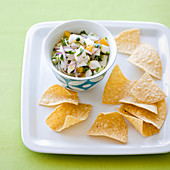 Scallop ceviche with tortilla chips