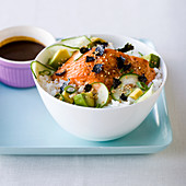 Chirashi sushi with broiled salmon