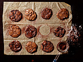 Grid view of double chocolate cookies