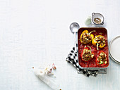 Stuffed peppers with tuna fish, couscous and feta cheese