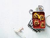 Gefüllte Paprika mit Thunfisch, Couscous und Feta