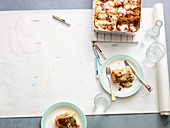 Courgette lasagne with sausages