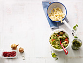 Pasta with cherry tomatoes and nut pesto