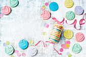 Cookies with topped with colourful hearts