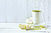A pear and cardamom shake with pistachios