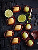 Almond and lime truffles, and orange truffles